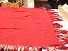 shawl, hand embroidered, heavy silk, crimson, hand...