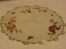 tray cloth, circular fine linen tray cloth with em...